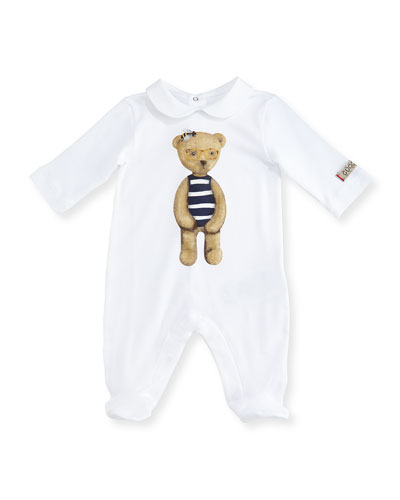 Collared Teddy Bear Footie Pajamas, White/Blue, Size 0-12 Months