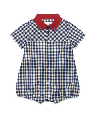 Cotton Gingham Shortall, Navy, Size 3-12 Months