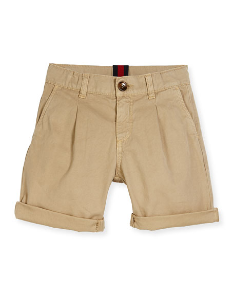 Gucci Pleated Cotton Bermuda Shorts, Oatmeal, Size 4-12