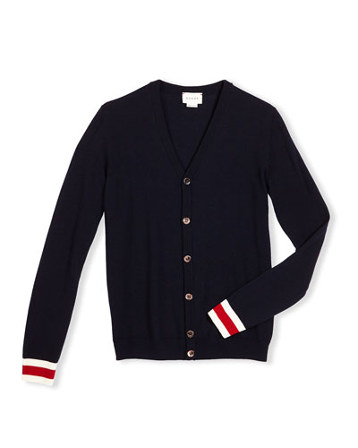 Wool Web-Trim Button-Front Cardigan, Navy, Size 4-12