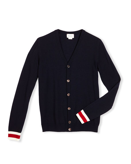 GucciWool Web-Trim Button-Front Cardigan, Navy, Size 4-12