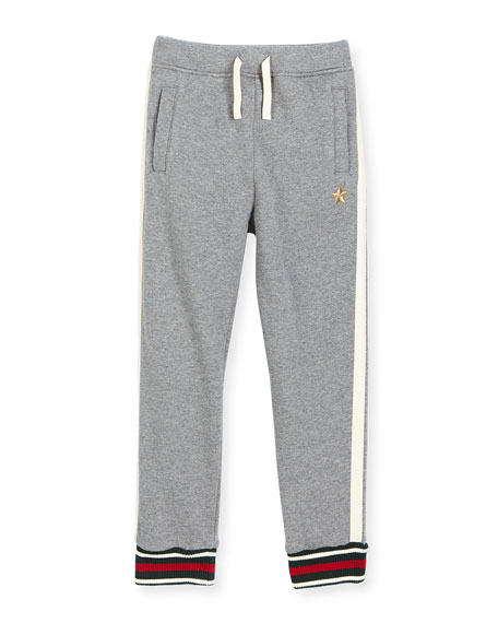 Stretch Jersey Track Pants, Gray