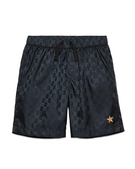 Gucci Nylon GG-Print Swim Trunks, Navy, Size 4-12