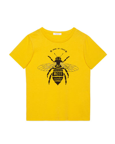 Short-Sleeve Bee Jersey Tee, Yellow, Size 6-12