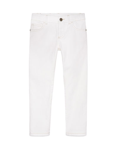 Skinny Stretch Jeans, White, Size 6-12