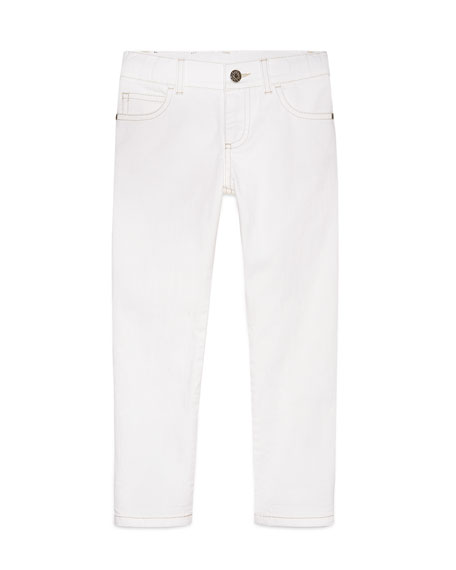 Gucci Skinny Stretch Jeans, White, Size 6-12