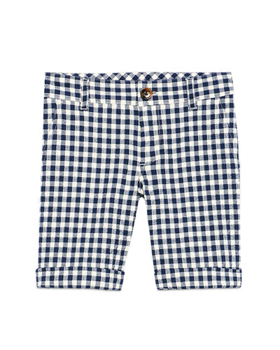 Gingham Cotton Seersucker Shorts, White/Blue, Size 6-12