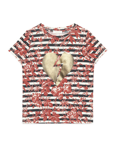Short-Sleeve Broken Heart Striped Tee, Cherry Red/Blue/White, Size 4-12