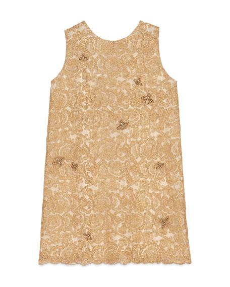 Gucci Sleeveless Metallic Floral Lace Dress, Gold, Size