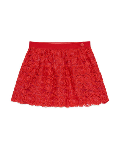 Floral Lace Wrap Skirt, Flame, Size 6-12