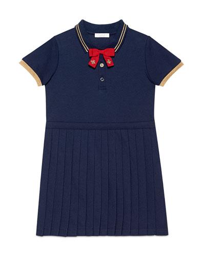 Pleated Cotton Pique Polo Dress, Blue, Size 6-12