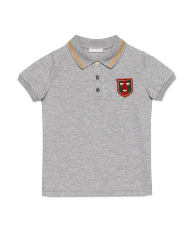 Cotton Pique Polo Shirt, Light Gray, Size 6-12