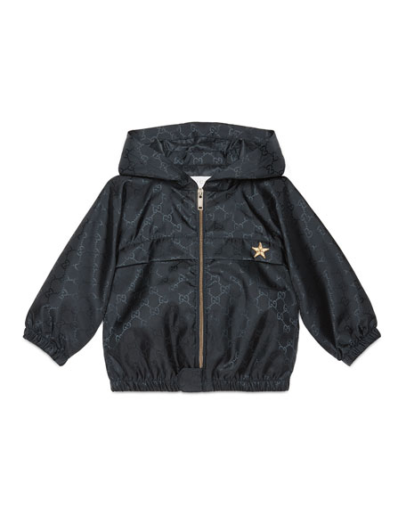 GucciHooded GG-Print Rain Jacket, Navy, Size 18-36 Months