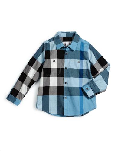 Mini Camber Check Shirt, Sky Blue, Size 4-14