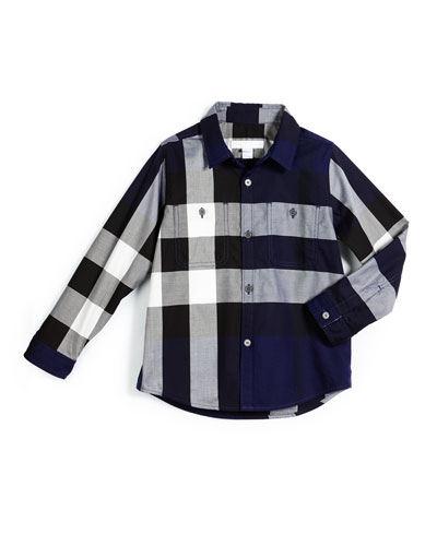 Mini Camber Check Shirt, Sapphire Blue, Size 4-14