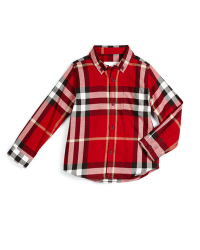 Fred Flannel Check Shirt, Parade Red, Size 4-14