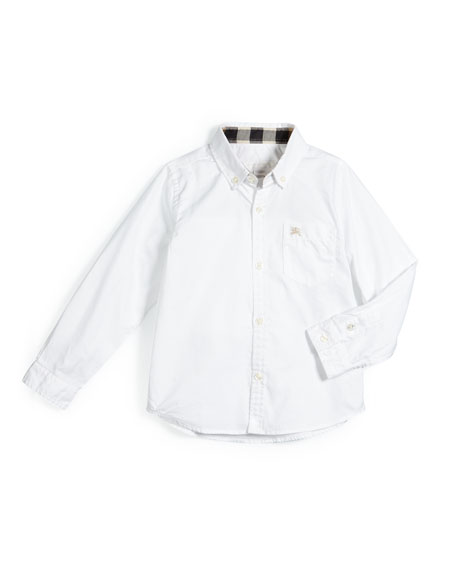 Burberry Fred Solid Poplin Shirt, White, Size 4-14