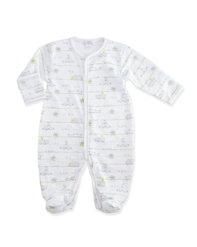 Safari Peeps Pima Footie Pajamas, White/Gray, Size 0-9 Months