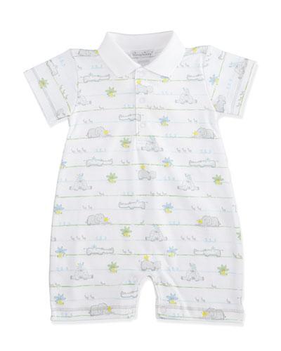 Safari Peeps Pima Shortall, White/Gray, Size 3-18 Months