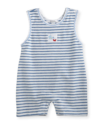 Whale Tails Striped Terry Shortall, Blue, Size 6-24 Months