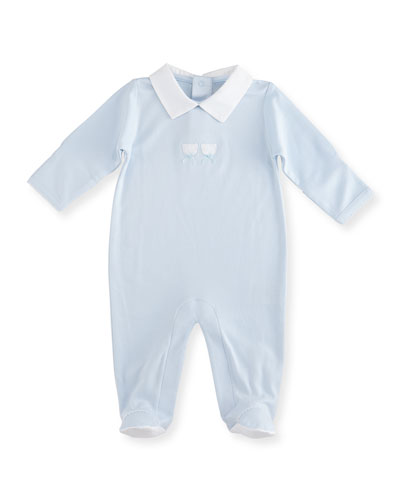 Pique Bears Pima Collared Footie Pajamas, Blue, Size Newborn-6 Months