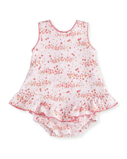 Strawberry Summer Pima Floral-Print Play Dress, Pink, Size 3-18 Months