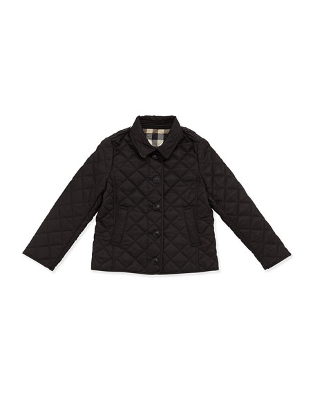 Burberry Ashurst Quilted Button-Front Jacket, Black, Size 4-14