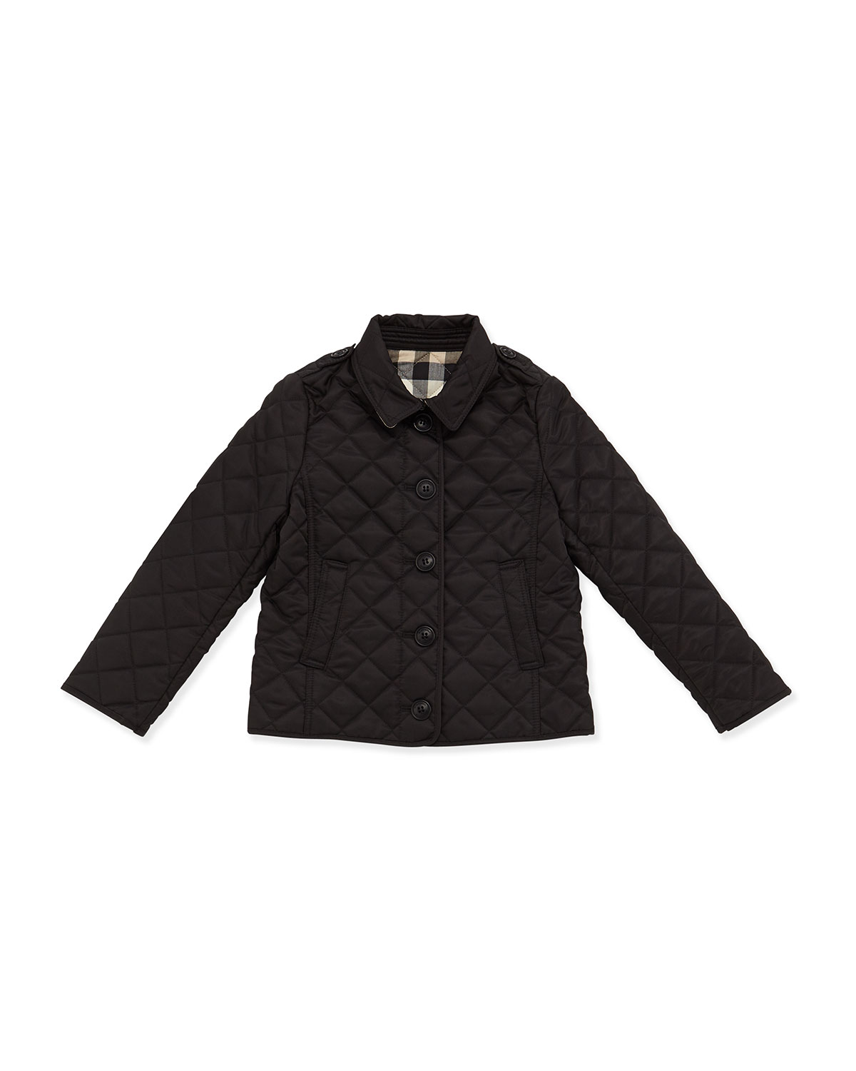 Burberry Ashurst Quilted Button Front Jacket Black Size
