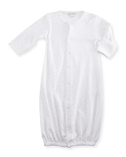 Shower Me with Love Pima Star-Print Sleep Gown, White/Silver, Size Newborn-Small
