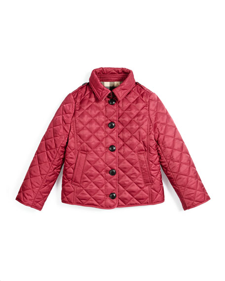 Burberry Ashurst Quilted Button-Front Jacket, Fritillary Pink,