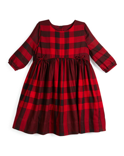 Rochella Woven Check Dress, Red, Size 4-14