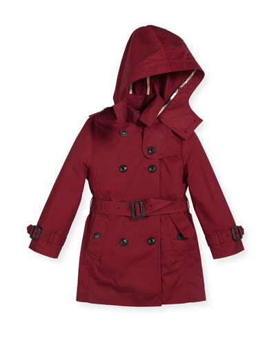 Matte Buckingham Hooded Trenchcoat, Berry Pink, Size 4-14