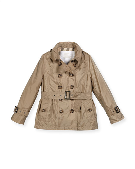 Shiny Grangemoore Hooded Trenchcoat, Sisal, Size 4-14
