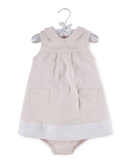 Sleeveless Pima Colorblock Shift Dress w/ Bloomers, Delicate Pink, Size 9-24 Months