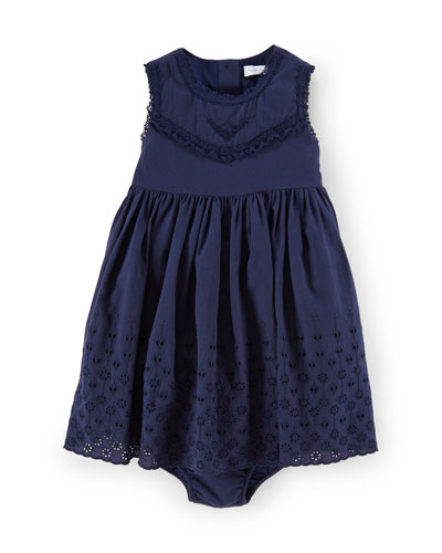 Sleeveless Cotton Voile Eyelet Dress, French Navy, Size 9-24 Months