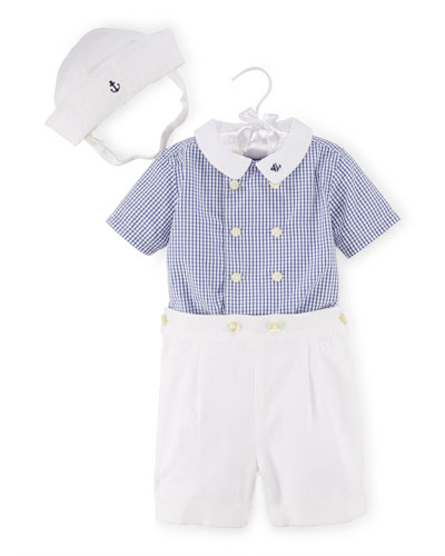 Gingham Shirt, Pleated Shorts & Sailor's Hat, White/Blue, Size 924 Months