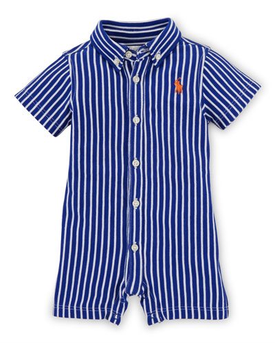 Striped Cotton Button-Front Shortall, Blue, Size 3-18 Months