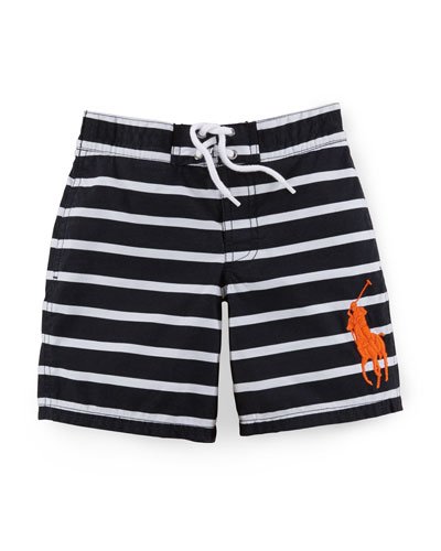 Sanibel Striped Tie-Front Swim Trunks, Size 2-7