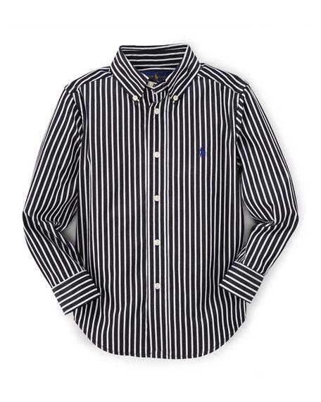 Ralph Lauren Childrenswear Striped Slim-Fit Poplin Shirt, Black,