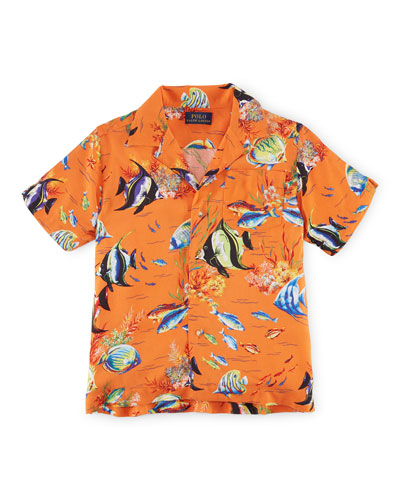 Short-Sleeve Angelfish Challis Shirt, Orange, Size 2-7