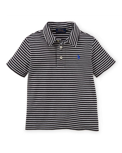 Striped Short-Sleeve Pima Polo Shirt, Black/White, Size 2-7