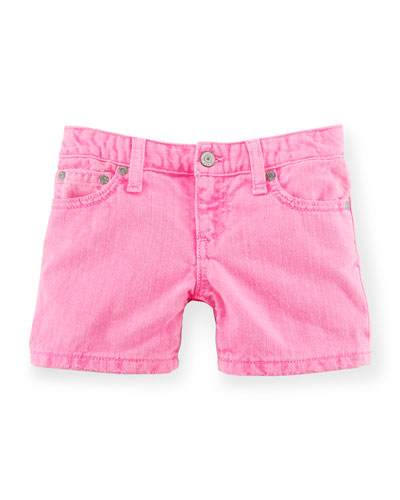 Denim Weekend Shorts, Pink, Size 2-6X