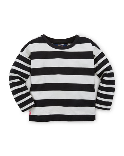 Long-Sleeve Striped Jersey Tee, Nevis, Size 2-6X