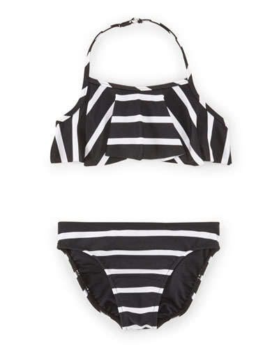 Striped Ruffle Halter Bikini, Polo Black, Size 2-6X