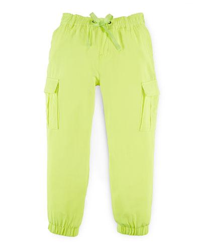 Woven Cargo Pants, Neon Citrus, Size 2-6X