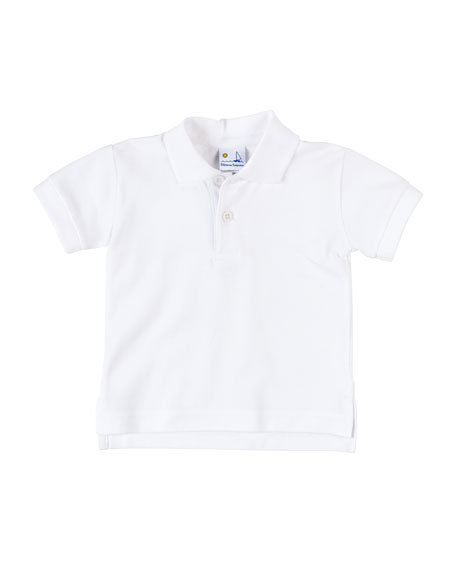 Short-Sleeve Cotton Pique Polo Shirt, White, Size 3-24 Months