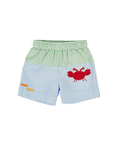 Striped Seersucker Trunks, Green/Blue, Size 6-24 Months