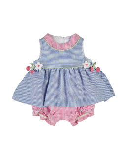 Striped Seersucker Play Dress, Blue/Pink, Size 3-18 Months