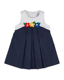 Sleeveless Pique Colorblock Shift Dress, Navy/White, Size 2-6