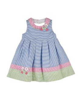 Striped Cherry-Trim Seersucker Dress, Multicolor, Size 2-6